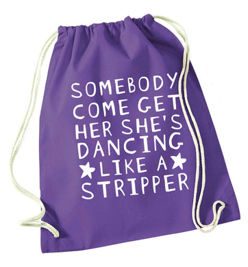 Gen Z funny viral meme  purple drawstring bag