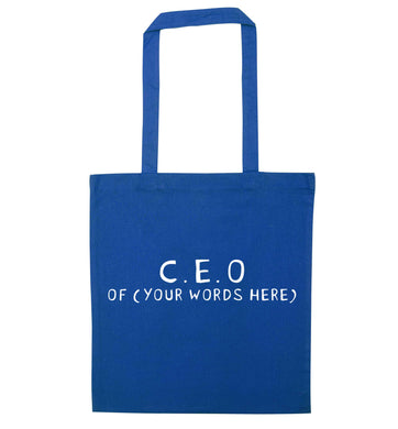What are you president of? Personalise it here!  blue tote bag