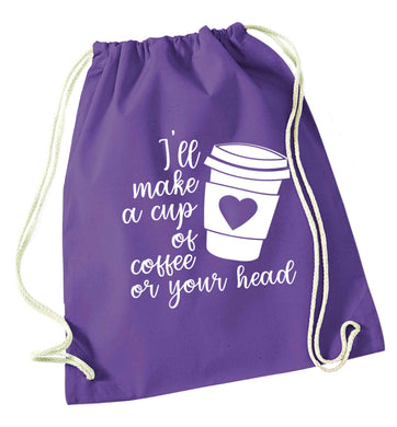 Misheard song lyrics - check!  purple drawstring bag