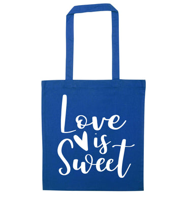Love really does make the world go round! Ideal for weddings, valentines or just simply to show someone you love them!  blue tote bag