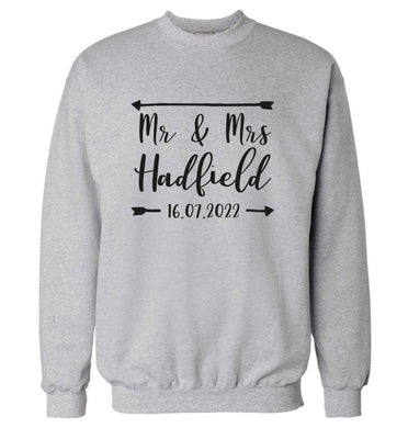 Personalised Mr and Mrs wedding date! Ideal wedding favours! adult's unisex grey sweater 2XL