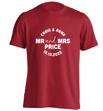 Personalised Mr and Mrs wedding and date! Ideal wedding favours! adults unisex red Tshirt 2XL