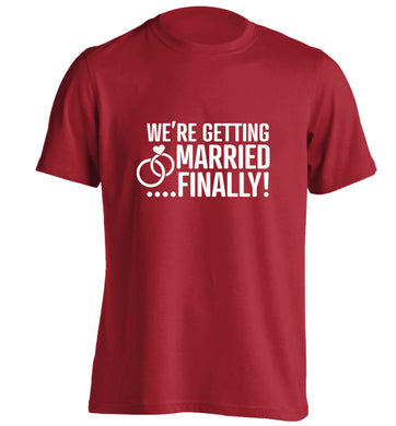 It's been a long wait but it's finally happening! Let everyone know you're celebrating your big day soon! adults unisex red Tshirt 2XL