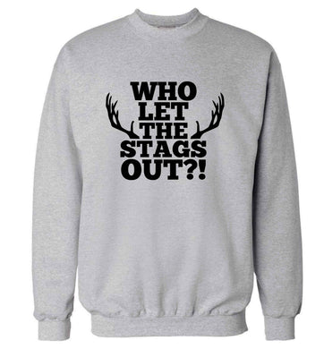 Who let the stags out adult's unisex grey sweater 2XL