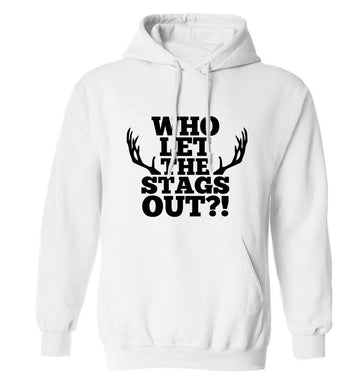 Who let the stags out adults unisex white hoodie 2XL