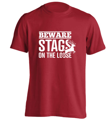 Beware stags on the loose adults unisex red Tshirt 2XL