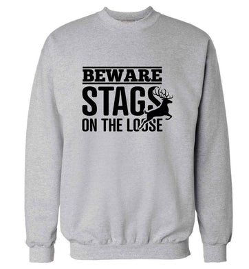 Beware stags on the loose adult's unisex grey sweater 2XL