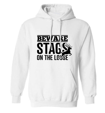 Beware stags on the loose adults unisex white hoodie 2XL