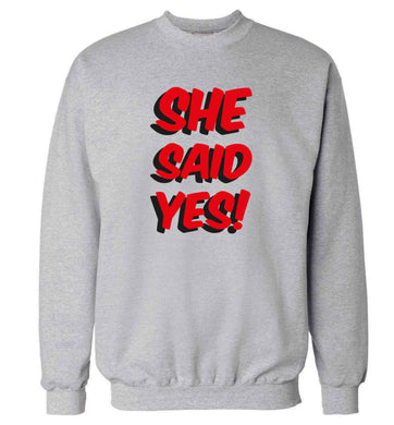 She said yes adult's unisex grey sweater 2XL