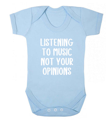 Listening to music not your opinions baby vest pale blue 18-24 months
