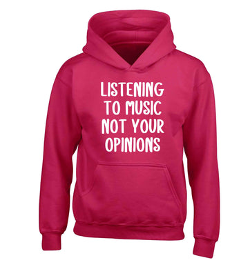Listening to music not your opinions children's pink hoodie 12-13 Years