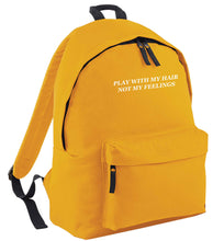 Play with my hair not my feelings mustard adults backpack
