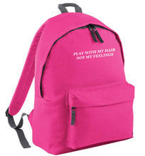Play with my hair not my feelings pink adults backpack