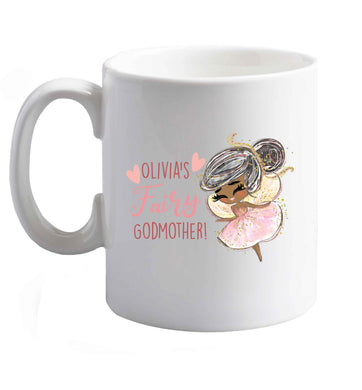 10 oz Personalised fairy Godmother - black hair  ceramic mug right handed