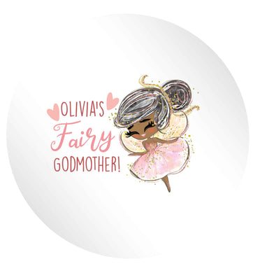 Personalised fairy Godmother - black hair 24 @ 45mm matt circle stickers