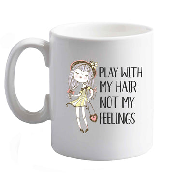 10 oz Play with my hair not my feelings illustration  ceramic mug right handed