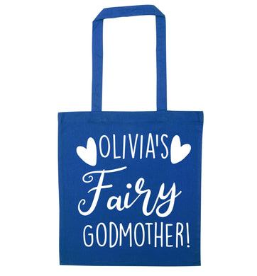 Personalised fairy Godmother blue tote bag