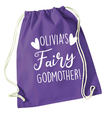 Personalised fairy Godmother purple drawstring bag