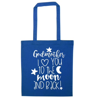 Godmother I love you to the moon and back blue tote bag