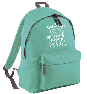 Godmother I love you to the moon and back mint adults backpack