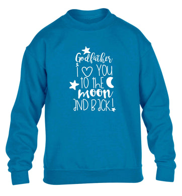 Godfather I love you to the moon and back children's blue sweater 12-13 Years