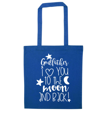 Godfather I love you to the moon and back blue tote bag
