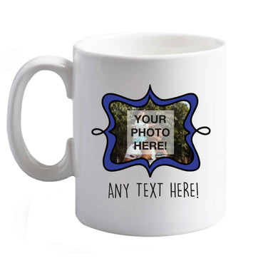 10 oz Any Photo or Text Navy Frame  ceramic mug right handed