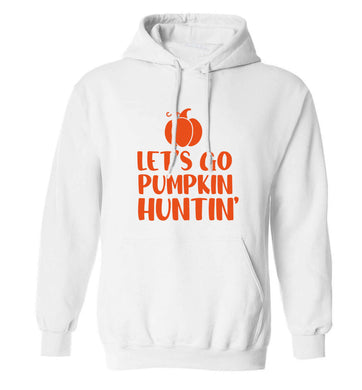 Let's go Pumpkin Huntin'adults unisex white hoodie 2XL