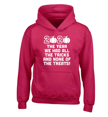 2020 The year we had all of the tricks and none of the treats children's pink hoodie 12-13 Years