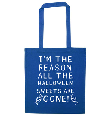 I'm the reason all of the halloween sweets are gone blue tote bag