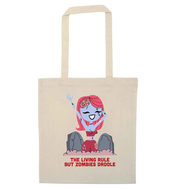 Living rule but zombies droole natural tote bag