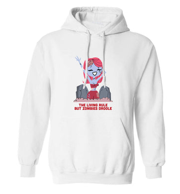 Living rule but zombies droole adults unisex white hoodie 2XL