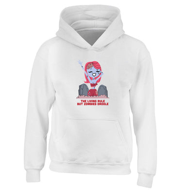 Living rule but zombies droole children's white hoodie 12-13 Years