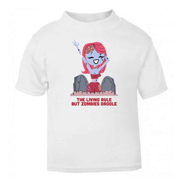 The living rule but zombies droole baby toddler Tshirt 2 Years