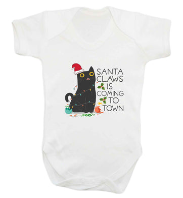 Santa claws is coming to town  baby vest white 18-24 months