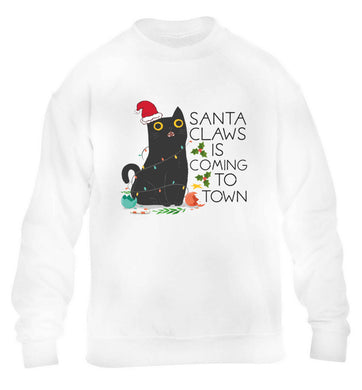 Santa claws is coming to town  children's white sweater 12-13 Years