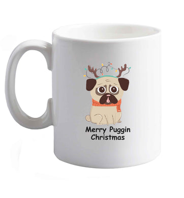 10 oz Merry puggin' Chirstmas ceramic mug right handed