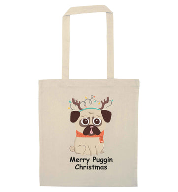 Merry puggin' Chirstmas natural tote bag
