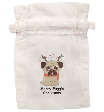 Merry puggin' Chirstmas | XS - L | Pouch / Drawstring bag / Sack | Organic Cotton | Bulk discounts available!