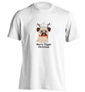 Merry puggin' Chirstmas adults unisex white Tshirt 2XL