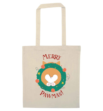 Merry Pawmas natural tote bag