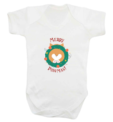 Merry Pawmas baby vest white 18-24 months