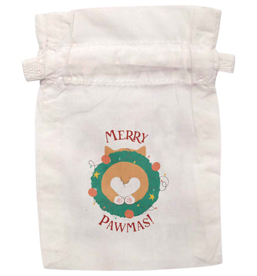 Merry Pawmas | XS - L | Pouch / Drawstring bag / Sack | Organic Cotton | Bulk discounts available!