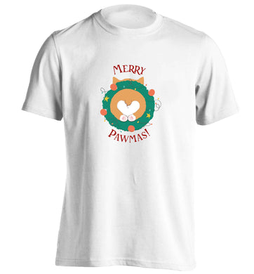 Merry Pawmas adults unisex white Tshirt 2XL