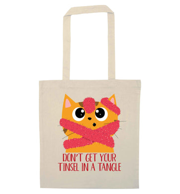 Don't get your tinsel in a tangle natural tote bag