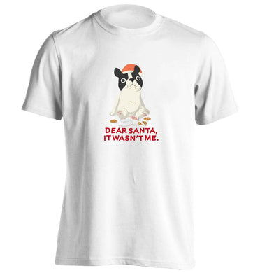 Dear Santa it wasn't me adults unisex white Tshirt 2XL