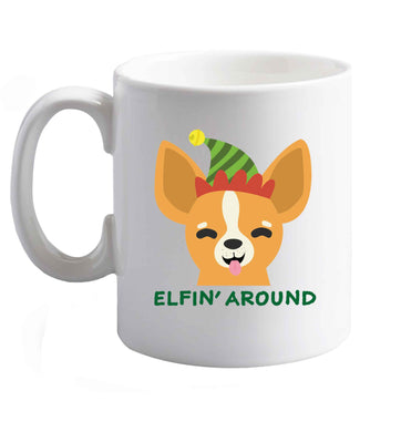 10 oz Elfin' around ceramic mug right handed