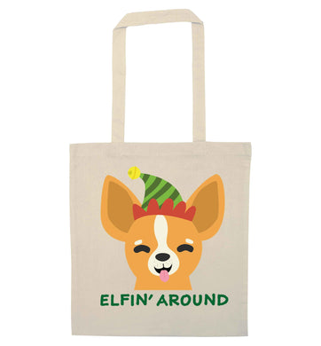 Elfin' around natural tote bag