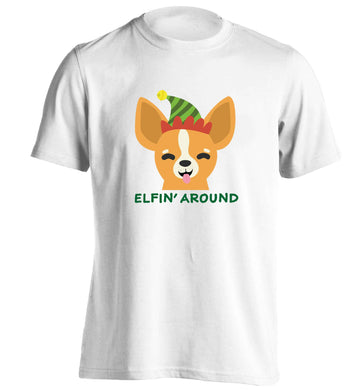 Elfin' around adults unisex white Tshirt 2XL