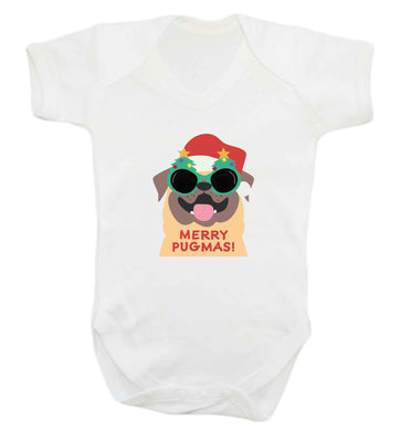 Merry Pugmas baby vest white 18-24 months